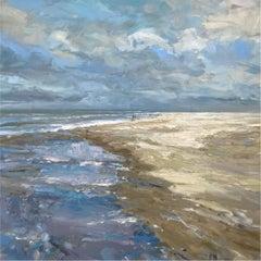 Winter Sun - beach classical realism landscape oil artwork contemporary
