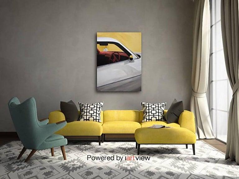 Camaro on Fairfax, Acrylic on Canvas, Car, berry red velvet dashboard and wheel. - Contemporary Mixed Media Art by Harry Cartwright