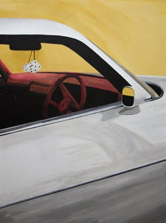 Camaro on Fairfax, Acrylic on Canvas, Car, berry red velvet dashboard and wheel.