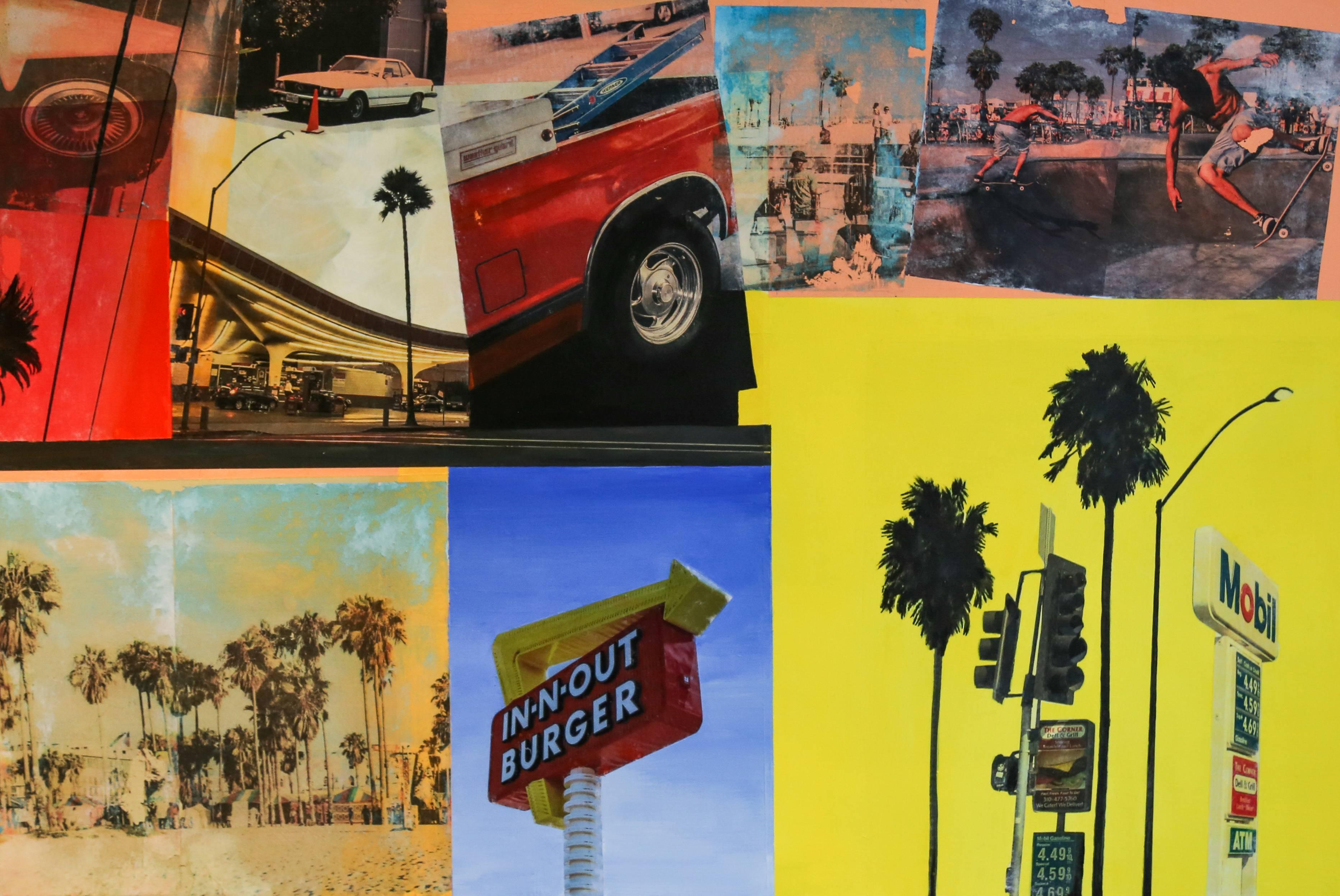 DRIVE THRU Original, Acrylic and Image Transfer onto Canvas, American collage,