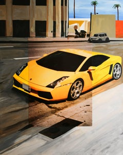 Lamborghini in Downtown Hollywood, Original, Acrylic Paint, Photograph, Signed
