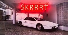 SKRRRT, Original, Acrylic and Photograph on Wood, Neon,  Red,Personally Signed