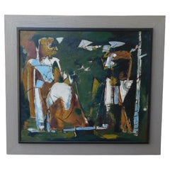 Harry Crowley NYC Abstract Expressionist Painting, Circa 1954, Slow Solitude
