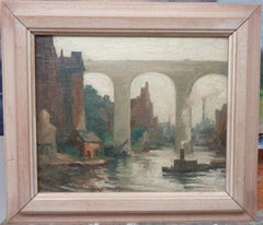 """The High Bridge"" Harry DeMaine, Salmagundi Club Artist plus Club label"
