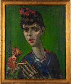 Antique American Modernist Portrait Young Smoking Woman Portrait Oil Painting