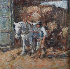 Harry Fidler, Leading the Haycart, British Impressionist rural scene, impasto