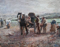 Potato Harvest - British Impressionist oil painting pastoral landscape horse