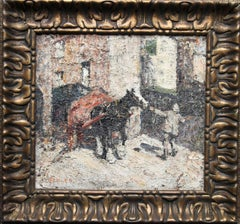 St Ives - British impressionist oil painting horse cart Sloop Inn Cornwall