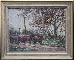 The Harvest - British art Impressionist 1918 oil painting horses cart landscape