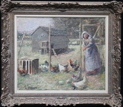 Woman Feeding Chickens - British art 1918 Impressionist pastoral oil painting