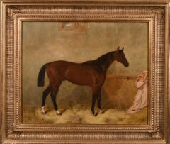 19th century painting of a chestnut hunter in a stable, signed and dated
