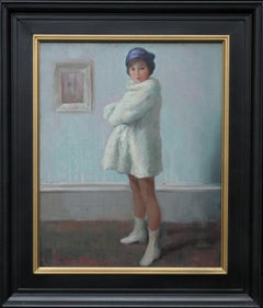 Portrait of a Girl in a White Coat - British 1920's Art Deco oil painting
