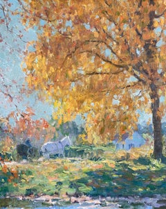 Golden Maple, American Impressionist Landscape with Horse, Buggy, and Figure