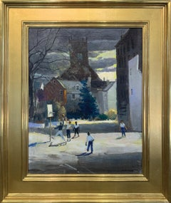 A Place in the Sun, American Impressionist, Urban Scene, 1970, Signed and Framed