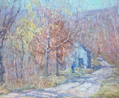 The Lane, Autumn, Oil on Board, American Impressionist Landscape with Figure