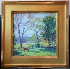 Meadow in Spring, Pennsylvania Impressionist Landscape with Cows, Oil on Canvas