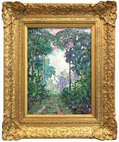"""Along the Cuyuni, British Guiana"" Impressionist Landscape Oil Painting on Board"