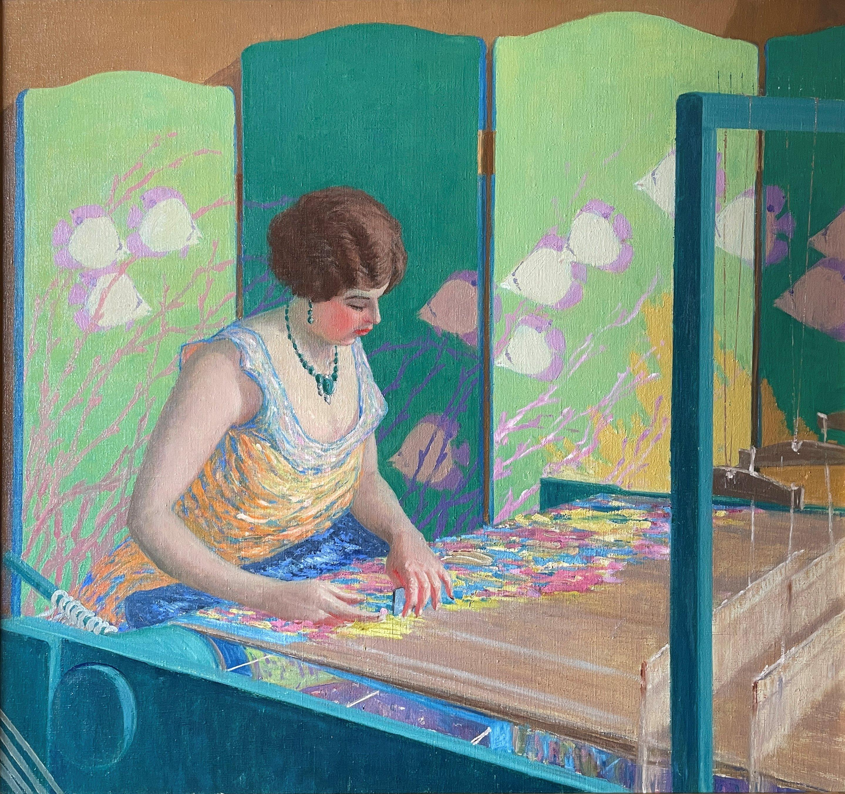 """""""The Artist's Wife at the Loom,"""" Harry Hoffman, Bright American Impressionism"""