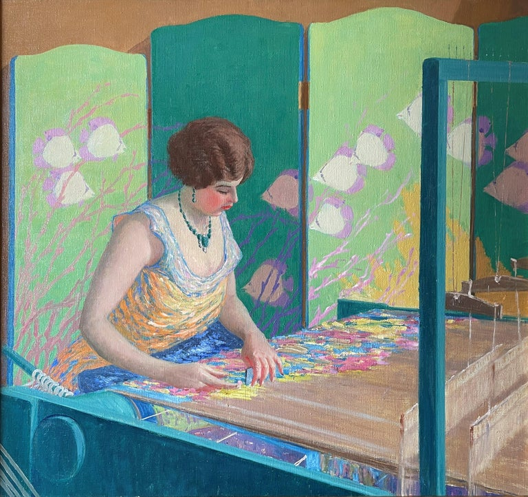 """Harry Leslie Hoffman Figurative Painting - """"The Artist's Wife at the Loom,"""" Harry Hoffman, Bright American Impressionism"""