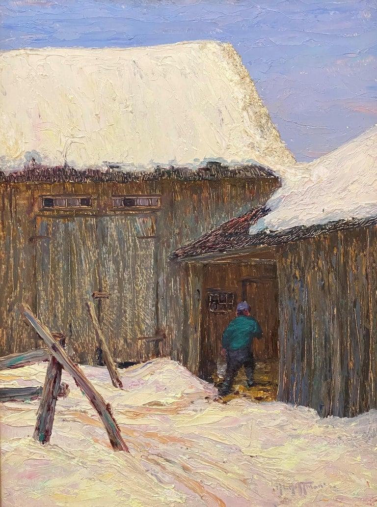 The Old Barn, Jackson - American Impressionist Art by Harry Leslie Hoffman
