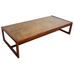 Harry Lunstead Acid Etched Copper and Walnut Coffee Table