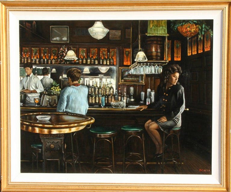An oil painting by Harry McCormick from 1990. An interior scene of a young woman in a low-lit bar.   Artist: Harry McCormick, American (1942 - ) Title: Downey's Year: circa 1990 Medium: Oil on Canvas, signed Size: 40 in. x 50 in. (101.6 cm x 127