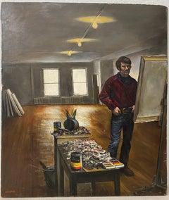 "Harry McCormick  ""The Artist Studio"" Original Oil Painting c.1970"