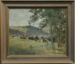 Peebles Landscape - Scottish art 19thC Impressionist oil painting hills sheep