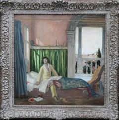 The Poet - British 1920's Art Deco interior male portrait poetry oil painting