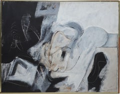 Vintage New York School Abstract Expressionist Oil Painting by Harry Nadler 1962