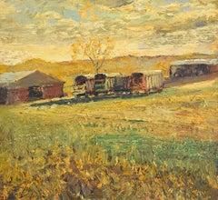 #5264 Wilber McIntyre's Wagons: Impressionist En Plein Air Landscape on Linen