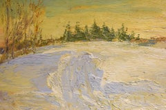 #5538 John Braymer's Road: Impressionist En Plein Air Winter Landscape on Linen