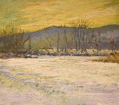 #5541 Frozen River at Skellie's: Impressionist Landscape Painting on Linen