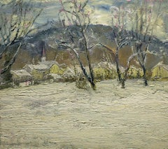 5542 West Hebron:  Impressionist En Plein Air Winter Landscape Painting on Linen
