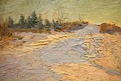 #5545 John Braymer's Road: Impressionist En Plein Air Winter Landscape on Linen