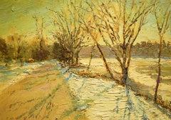 #5549 Colonial Road: Impressionist En Plein Air Landscape Painting on Linen