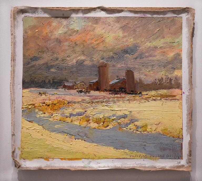 5550 Farm on Callaway Rd: Impressionist En Plein Air Landscape Painting on Linen For Sale 1