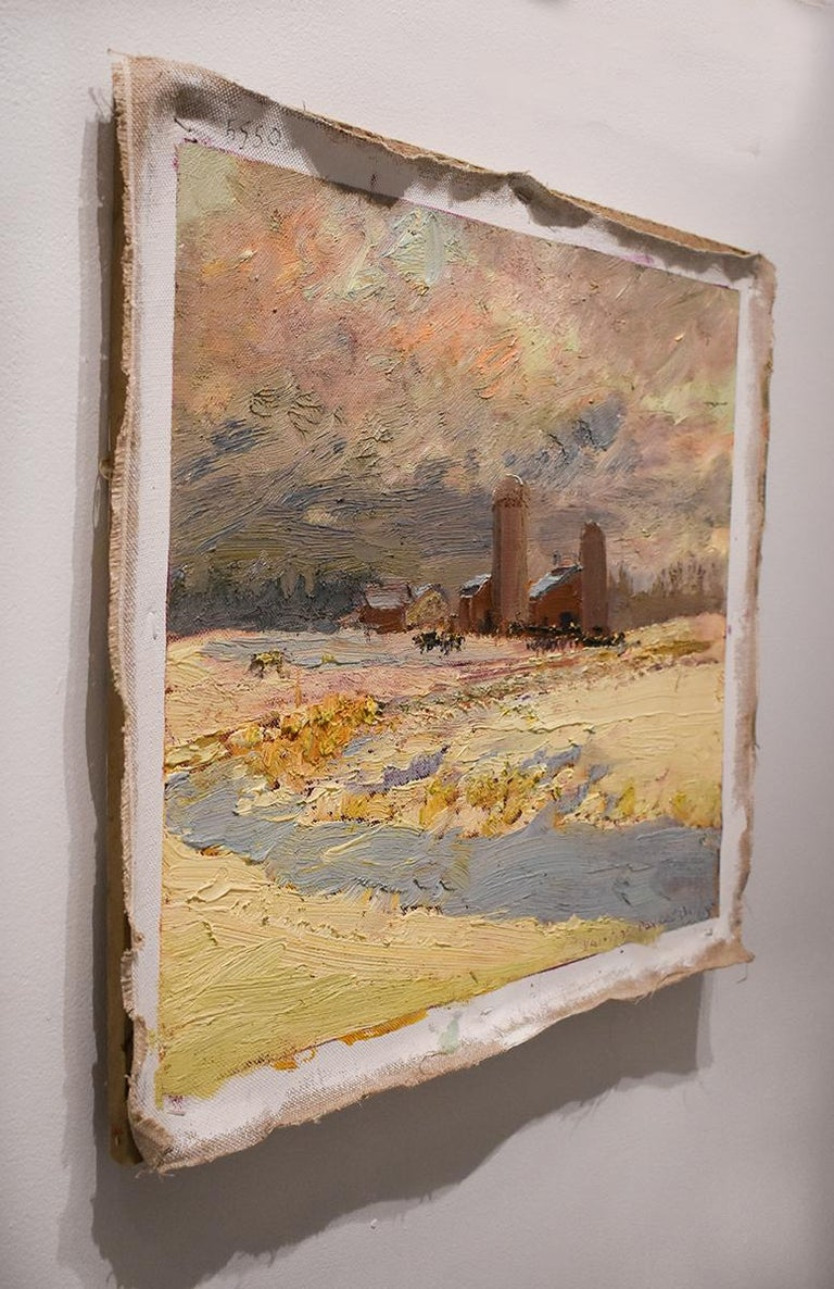 5550 Farm on Callaway Rd: Impressionist En Plein Air Landscape Painting on Linen For Sale 2