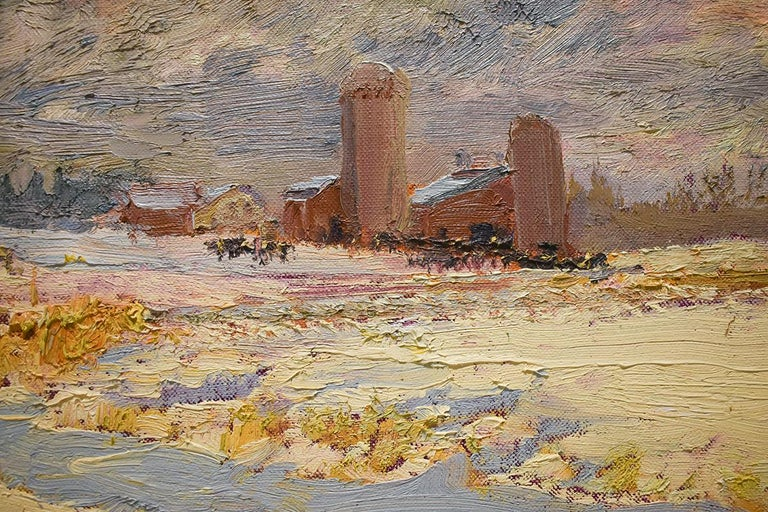 5550 Farm on Callaway Rd: Impressionist En Plein Air Landscape Painting on Linen For Sale 3