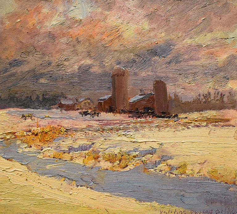Impressionistic, en plein air landscape oil painting on linen of two silos on a rural country farm during a wintertime sunset #5550 Farm on Callaway Road, Valentine's Day Landscape oil painting on linen mounted on homasote board, unframed 16 x 17.75