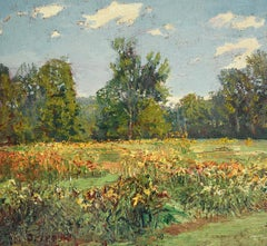 #5703 Day Lily Field: Impressionistic En Plein Air Summer Landscape Painting