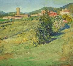 #5712 Gardenworks: Impressionistic En Plein Air Landscape Painting of Rural Farm