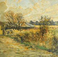 #5715 Overgrown Barn: Impressionist En Plein Air Landscape Painting on Linen