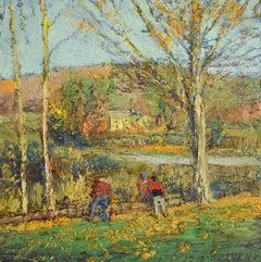 #5717 Wood Cutters: Impressionist En Plein Air Autumn Landscape Oil on Linen