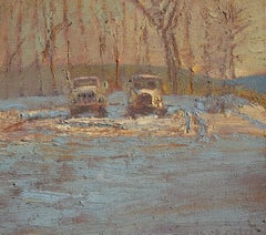 #5737  Golden Anniversary: Impressionist En Plein Air Winter Landscape of Trucks