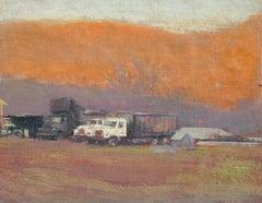 #5787 Trucks in Chambers' Valley: Impressionist En Plein Air Landscape at Sunset