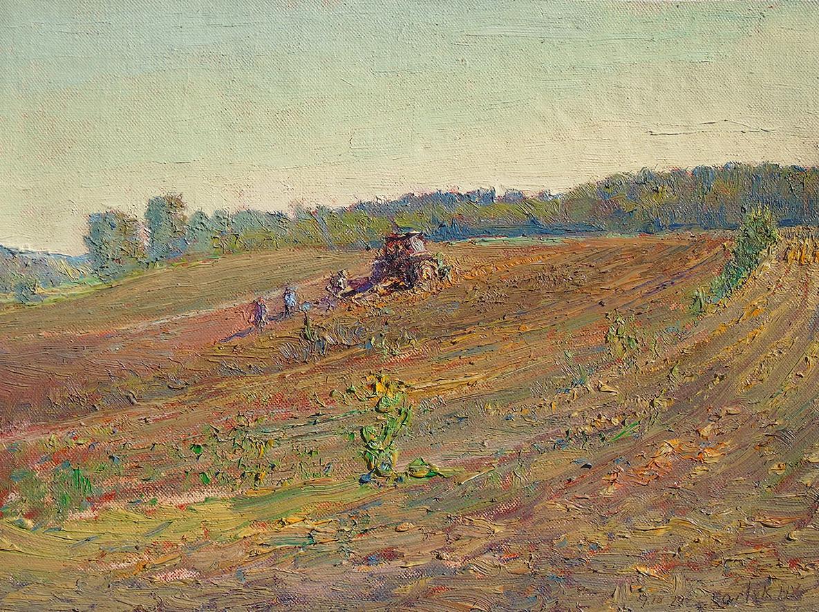 #5789 Gleaners: Impressionist En Plein Air Landscape of Tractor in a Farm Field