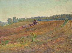 #5789 Gleaners: Impressionist En Plein Air Landscape of Tractor in a Farm Field