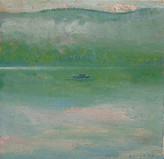 #5791 Trolling at Taylor Pond: Impressionist En Plein Air Landscape of Boat
