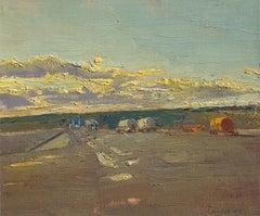 At the Slurry Pit: Impressionist En Plein Air Landscape of Hay Field at Sunset
